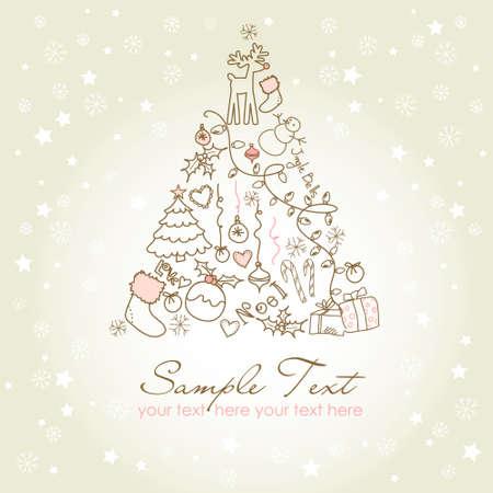 Christmas tree made of cartoon holiday symbols Illustration