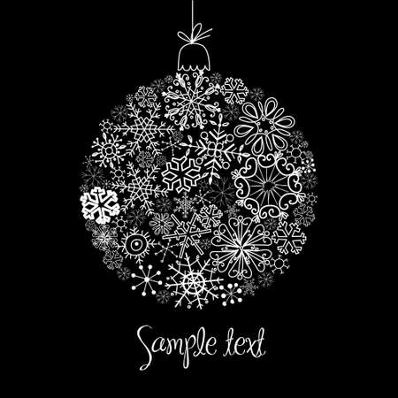 Black and White Christmas ball illustration. Vector