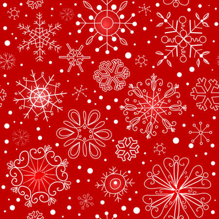 white textured paper: Red seamless ornament with snowflakes