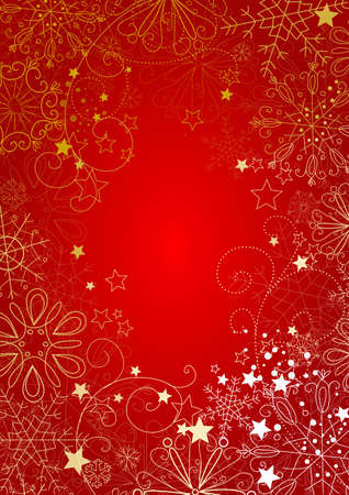 snow flakes: Red christmas background