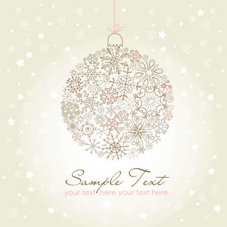 Beautiful Christmas ball illustration. Christmas ornamen made of snowflakes Vector