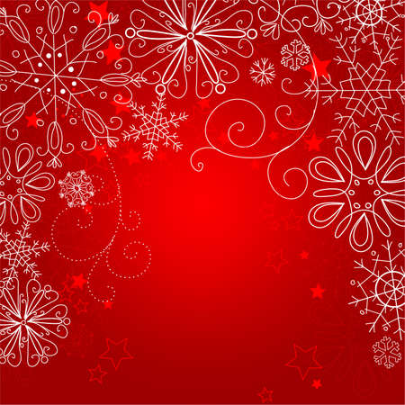 Red Christmas background with snoflakes and stars