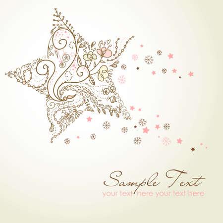 christmas postcard: Beautiful Christmas Star illustration. Christmas Card Illustration