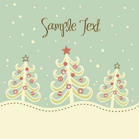 cute christmas: Christmas tree background, vector illustration