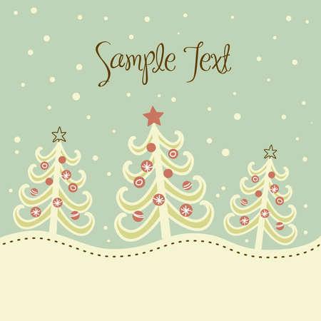 paisaje vintage: Navidad �rbol de fondo, ilustraci�n vectorial