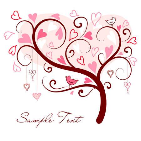 albero stilizzato: amore albero stilizzato fatto di cuori con due uccelli Vettoriali