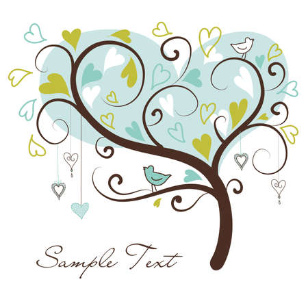 stylized love tree made of hearts with two birds Stock Vector - 10937273