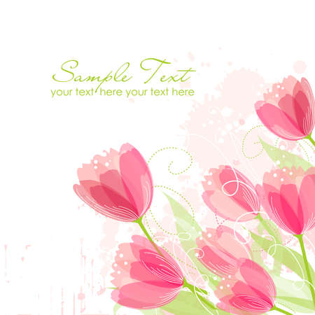Floral background with tulips Vector
