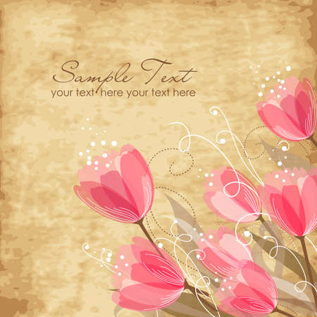 Romantic Flower Background  Illustration