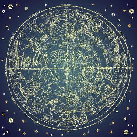 constelaciones: Constelación del Zodiaco vintage de estrellas del Norte.