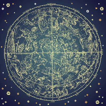 astrologer: Vintage zodiac constellation of northen stars.  Illustration