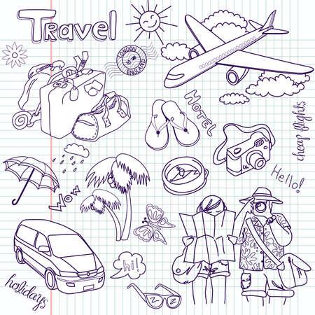 voyage: Griffonnages de voyage de main dessiné. Illustration vectorielle.