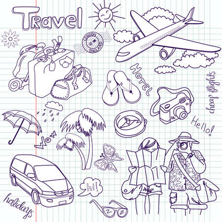 trip travel: Hand drawn travel doodles. Vector illustration.  Illustration