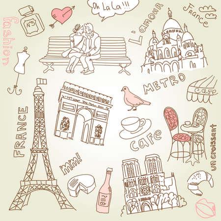 liefde in Parijs doodles Stock Illustratie