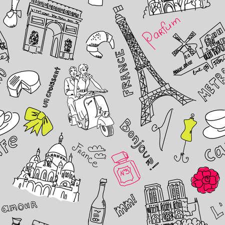 notre dame de paris: Sightseeing in Paris doodles  Illustration