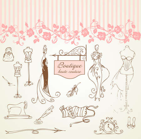 Boutique haute couture and  Dressmaking Vector