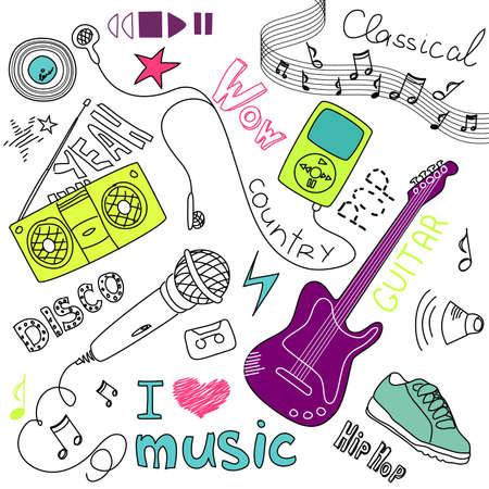 Muziek Vector Doodles Stock Illustratie