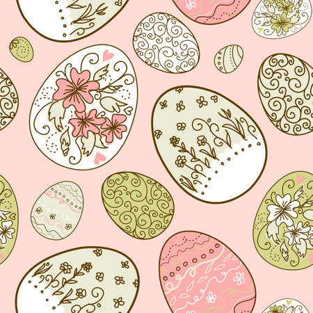 group pattern: Seamless pattern with Easter eggs