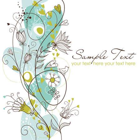 dessin fleur: R�tro fond floral transparente Illustration