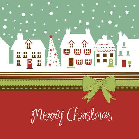 크리스마스 시간 크리스마스 카드, 귀여운 작은 마을