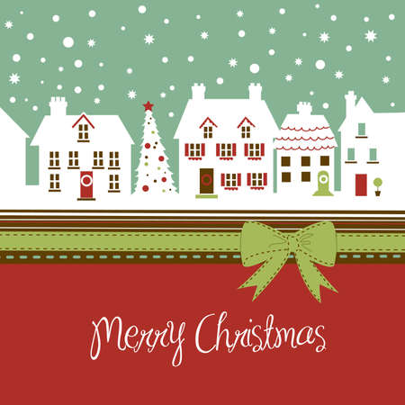 Christmas card, cute little town at christmas time Illustration