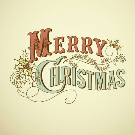 tidings: Vintage Christmas Card. Merry Christmas lettering