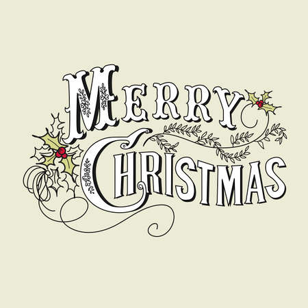 Vintage Christmas Card. Merry Christmas lettering