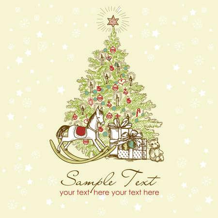 Vintage Christmas Card . Beautiful Christmas tree illustration