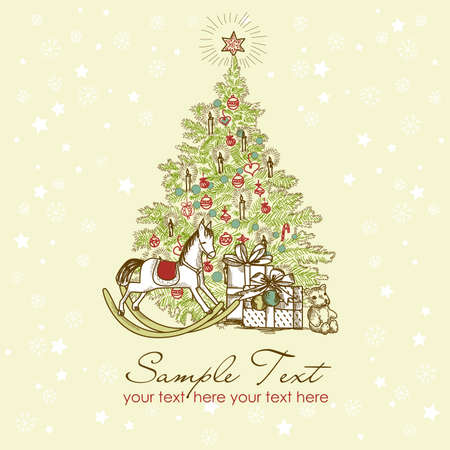 christmas tree set: Vintage Christmas Card . Beautiful Christmas tree illustration