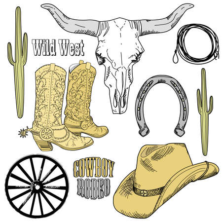 Wild West Western Set  Vector