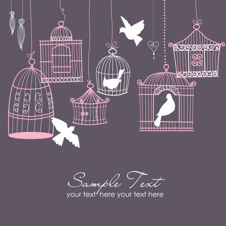 black bird: Vintage bird cages. Birds out of their cages concept vector Illustration