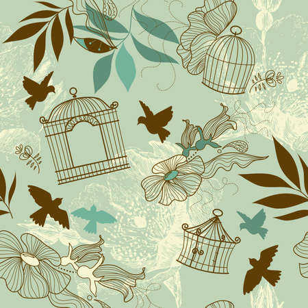 Birds and bird cages. Seamless pattern  Çizim