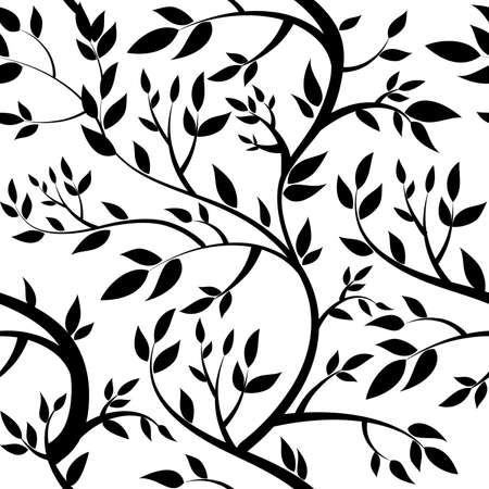 victorian wallpaper: seamless wallpaper - black leaves