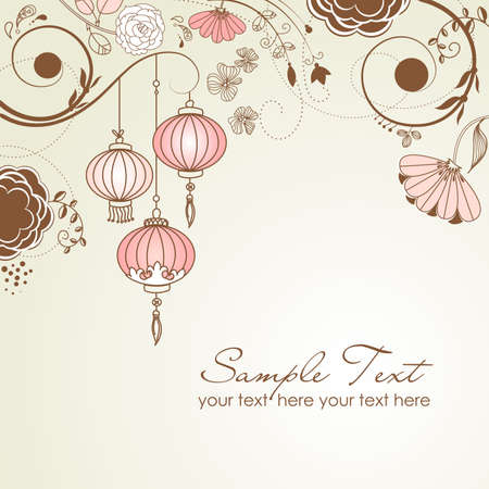 chinese festival: Chinese lanterns. Stylish floral background