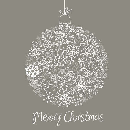 Grey and White Christmas ball illustration.  Vector