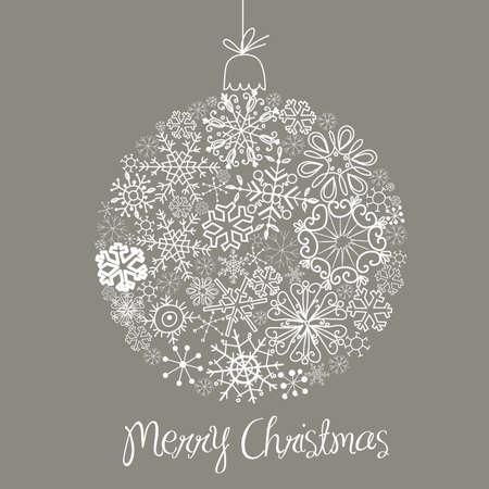 Grey and White Christmas ball illustration.