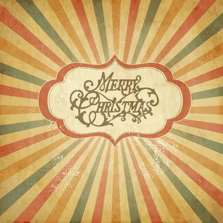 Vintage Christmas sjabloon, gekleurde zon burst achtergrond.