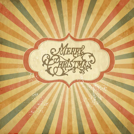 sunbeams: Vintage Christmas template, colored sun burst background.