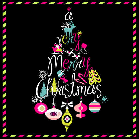 happy new year text: A Very Merry Christmas tree design
