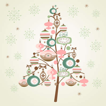 Cute Christmas Tree and snowflakes Vector