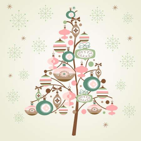 Netter Weihnachtsbaum und Schneeflocken