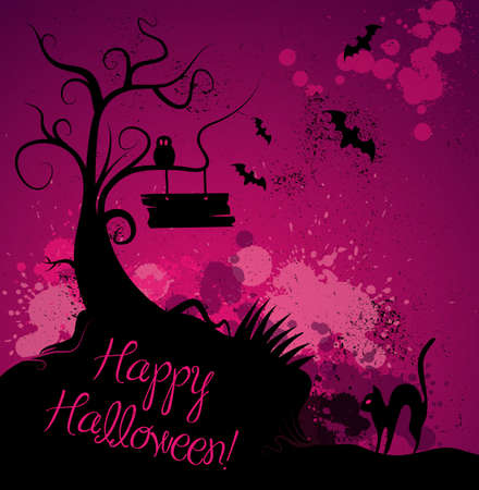halloween cartoon: Halloween grunge vector background