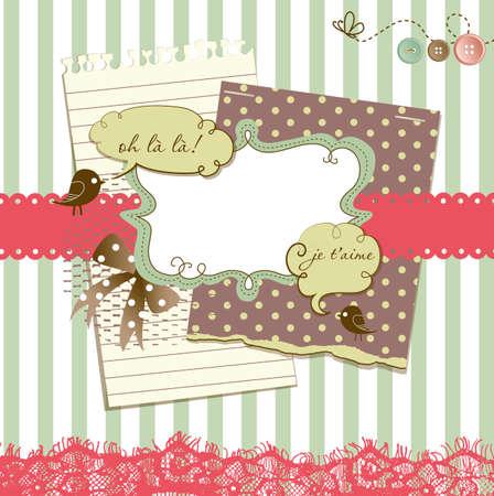 papel scrapbook: Lindo libro de recuerdos de los elementos Vectores