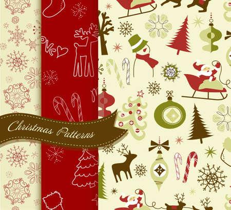 Set of Retro Christmas patterns Stock Illustratie