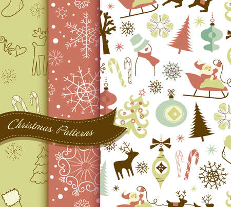 Set of Retro Christmas patterns  Vector