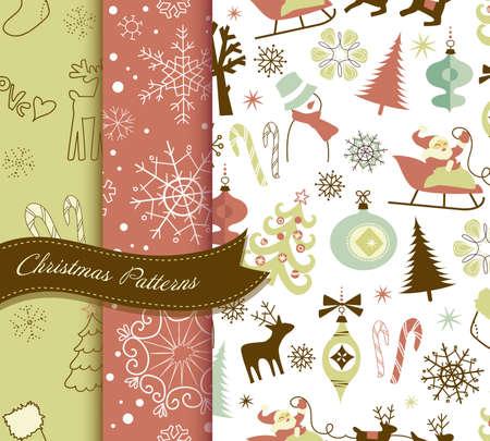 retro: Set of Retro Christmas patterns