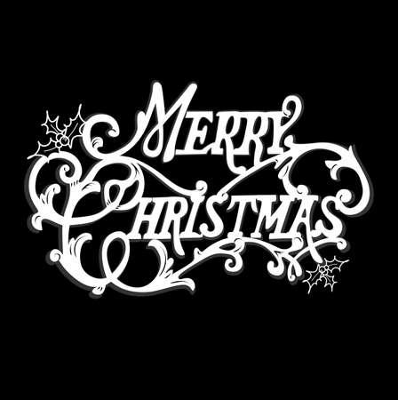 Black and White Christmas Card. Merry Christmas belettering Stock Illustratie