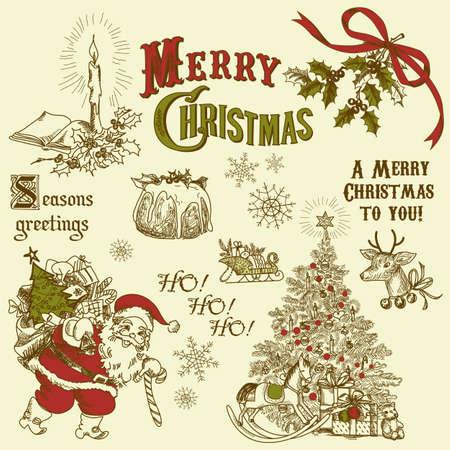 Vintage Navidad garabatos Foto de archivo - 11059370