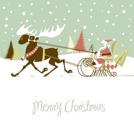 sled: Retro Christmas Card