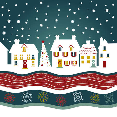 Christmas card, cute town at christmas time  Vector